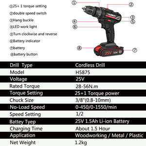 Image 3 - 25V  Cordless screwdriver electric screwdriver 1.5AH lithium battery charging drill power tool +7 drill