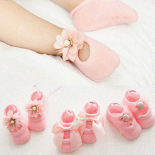3 Pairs/Lot Baby Girl Floor Socks Non-slip Cute Cotton Baby Socks with Bowknot Solid Breathable Infant Newborn Kids Socks 6 pairs lot newborn socks baby socks children cotton socks newborn baby boat socks non slip floor socks