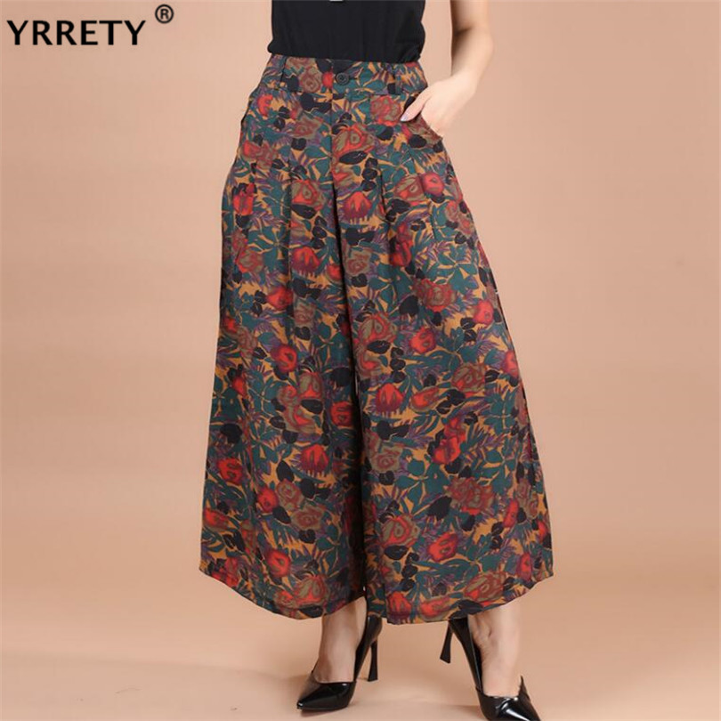 YRRETY Print Flower Wide Leg   Pants   Plus size Summer Women Print Flower Pattern Loose Linen   Pants   Female Casual Trousers   Capris