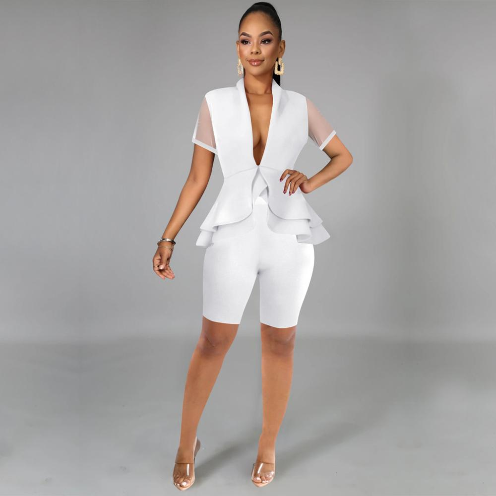 2020 New Summer Women Office Ladies 2 two piece set Top and Shorts Pants Elegant Casual Business Matching Suit Set Plus Sze