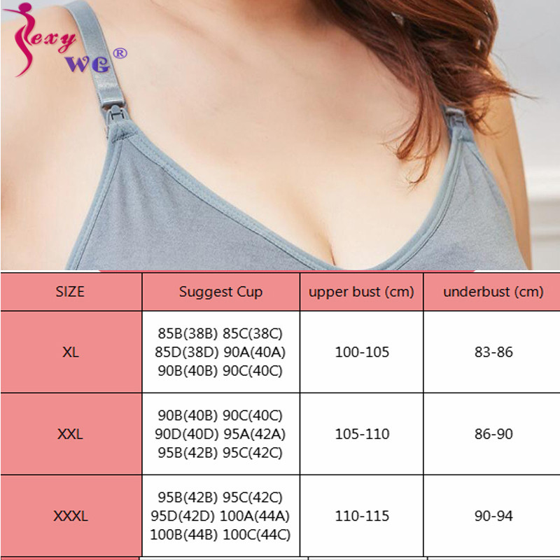SEXYWG Bra-Xl-3xl Supportive Front-Open Breathable Cotton Plus-Size Pregnant-Breastfeeding