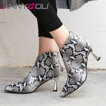 ANNYMOLI Autumn Ankle Boots Women Natural Genuine Leather Kitten High Heels Short Boots Snake Print Zipper Shoes Lady Size 34-39