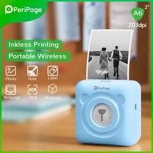 Портативный термопринтер 2021 PeriPage, Bluetooth 203 DPI, белая этикетка, фото-счет, беспроводной принтер A6 58 мм, карманная машина
