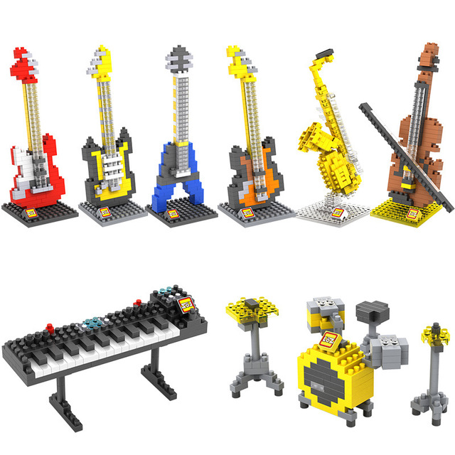 Popular Rock Band Musical Instruments Micro Diamond Block Bass Jazz Drum Kit Classical Guitar Saxophone NanoBRICKS Model Toys