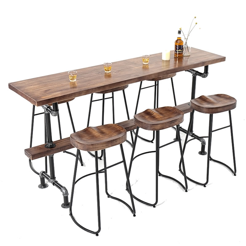 High Foot Table, Nordic Solid Wood Against The Wall, Simple Bar, Table And Chair Combination, Family Balcony, Personalized Bar,