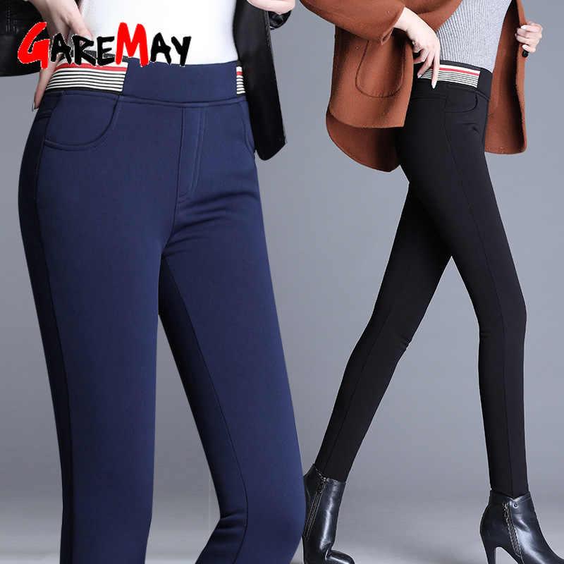 Pantalones cálidos de Invierno para mujer, pantalones negros de talle alto, pantalones de lana para mujer, mallas elásticas ajustadas casuales, mallas sólidas para mujer