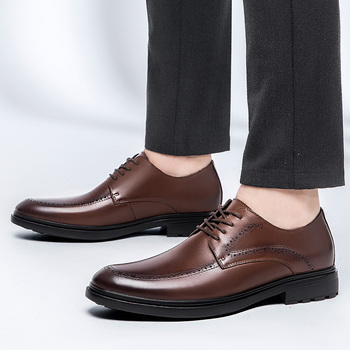 Dress Shoes Men Formal Shoes genuine Leather Luxury Groom Wedding Shoes Men Luxury brand lace up Oxfords Youth Dress Shoes