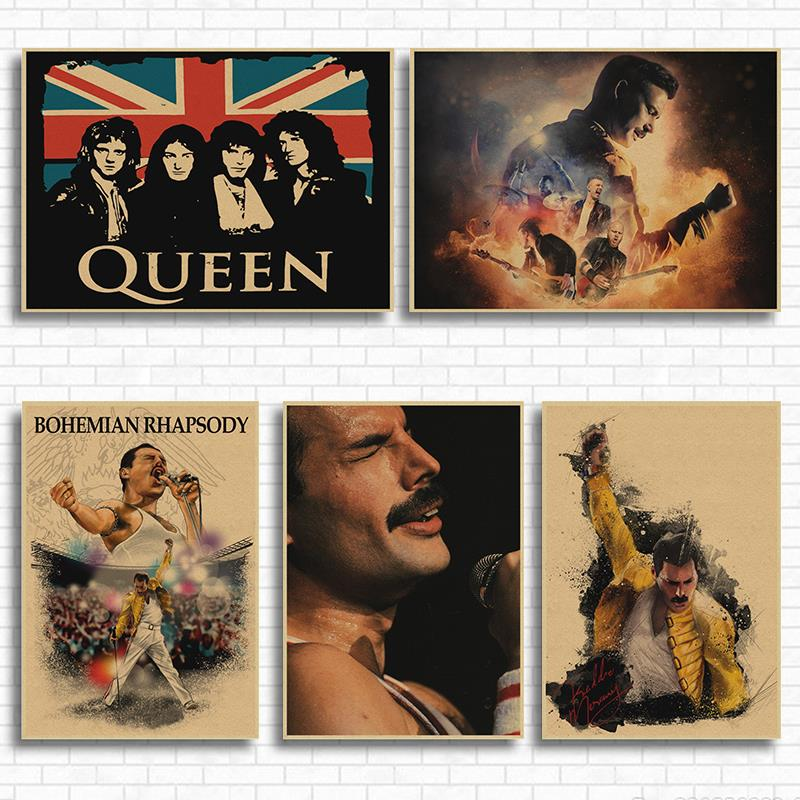 Queen Vintage Bohemian Rhapsody Music Movie Art Poster Retro Printed Posters Wall Art Picture for Living Room Decor image