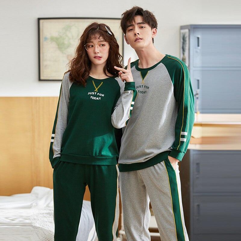 Lovers Suit Pyjamas Long-sleeved Pajamas Casual Loose Women Winter Men Lounge Homewear Sleepwear Top + Pants pijama mujer
