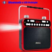 Высокая мощность Bluetooth динамик мегафон светодиодный фонарик fm-радио USB TF AUX 3,5 мм микрофон с функцией записи звука с 2 18650 тестом