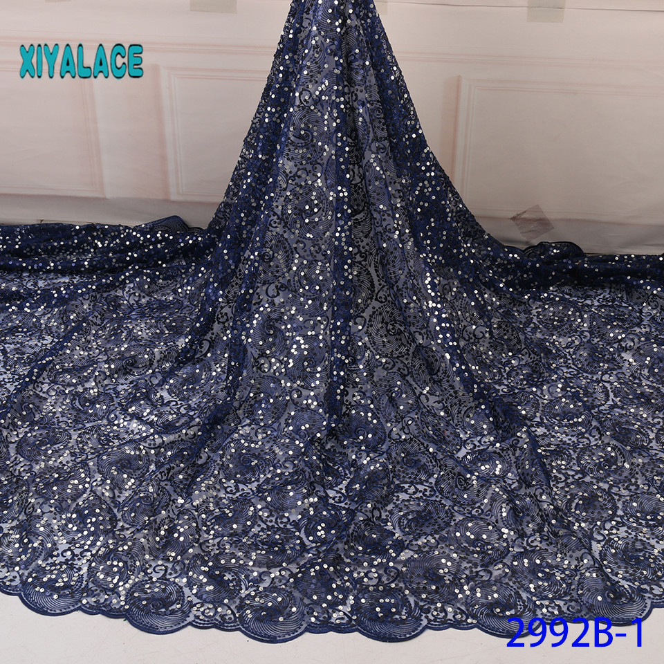 African Lace Fabric Sequins Lace Fabric Organza Nigerian Net Laces Fabric Bridal High Quality French Tulle YA2992B-1