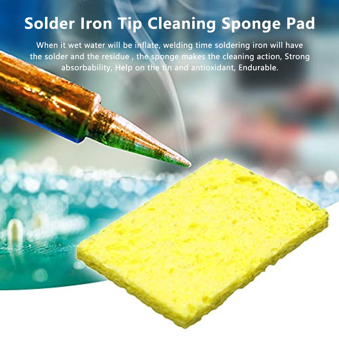 10pcs High Temperature Resistant Heatstable Solder Thick Sponge Soldering Welding Accessories Soldering Iron Cleaning Sponges