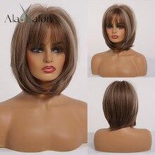 ALAN EATON Bob peruki z grzywką syntetyczne krótkie peruka z prostymi włosami dla czarnych kobiet mieszane brązowy popiół szary żaroodporne bobo peruka do Cosplay