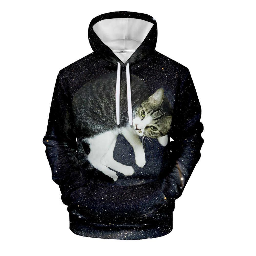 Sevimli siyah kedi Hoodie 3D baskı erkek sonbahar kazak eşofman kadın sıcak şık kedi Hoodies kazak yetişkin ve çocuk boyutları