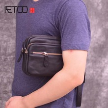 AETOO Clutch bag male leather hand bag double zipper multi-function first layer cowhide hand bag large capacity casual men bag