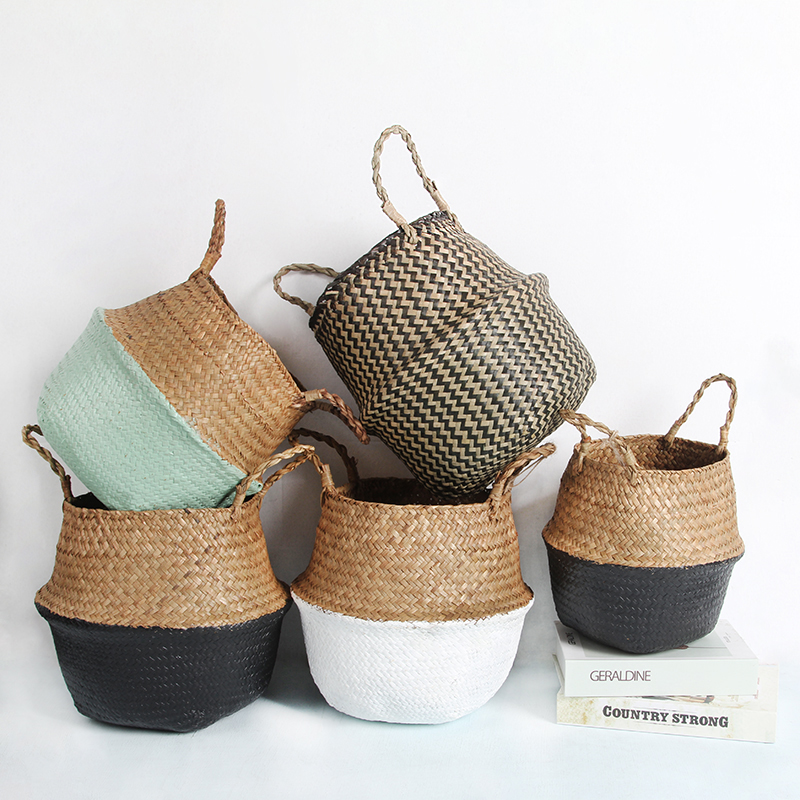Household Storage Baskets Foldable Seagrass Woven Organizer Basket Pot Garden Flower Vase Hanging Wicker Basket Bellied Baskets