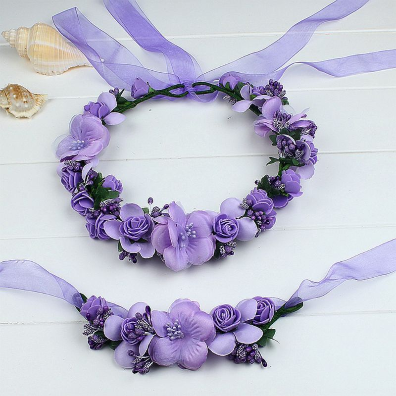 Women Kids Candy Color Artificial Flower Crown Headband Wristband Set Wreath Garland Wrist Corsage Bridal Wedding Accessories
