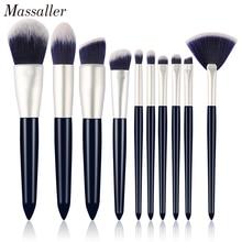 Massaller 10pcs Soft Synthetic Hair Black Makeup Brush Set Large Powder Foundation Eye Shadow Fan Brushes Kit for Daily Make Up недорого