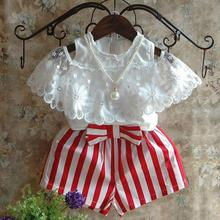 Kids Clothes Sets Early Summer New Girls Clothing Suit Mesh Blouses + Striped Shorts Two-piece Toddler Girl Clothing Set 2-7Y 2017 new girls sets baby two pieces sets children cotton and linen set kids plaid blouses overalls toddler jeans pants 2 7y