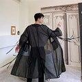 Männer Transluzenten Mesh Graben Mantel Männlichen Japan Streetwear Punk Gothic Hip Hop Lange Strickjacke Jacke Bühne Kleidung