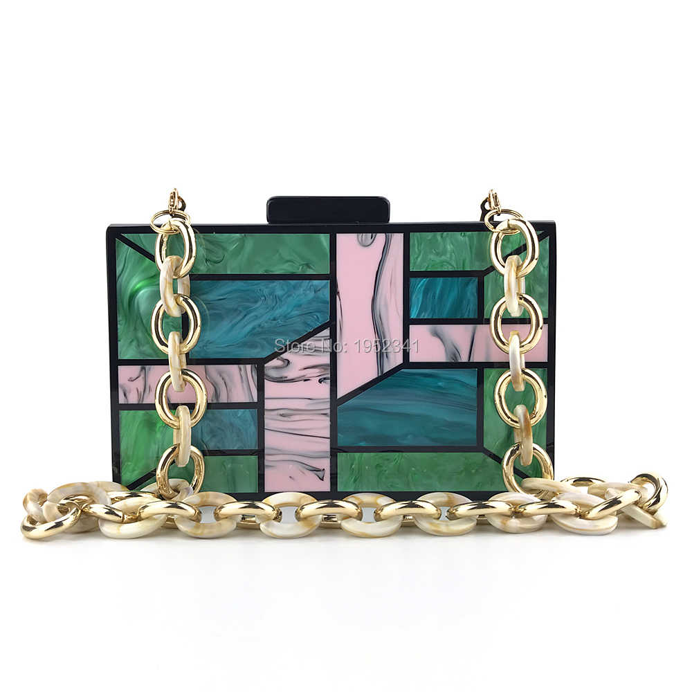 Heart pattern green and white long acrylic clutch with the acrylic strap and metal chain Retro acrylic clutch Evening clutch Party clutch