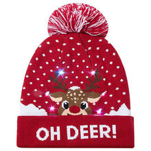 LED Light-up Knitted Ugly Sweater Holiday Xmas Christmas Beanie Happy New Year Decor 2019 Xmas Gift(China)