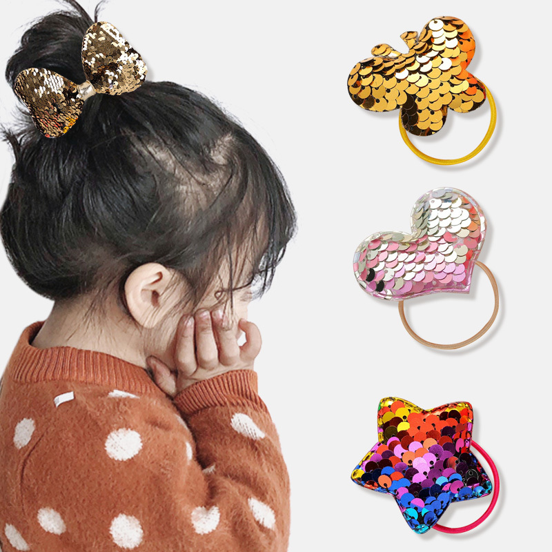 Fashion Colorful Sequin Bow Headband Girl Hair Band Can Flipped Color Fish Scale Elastic Hair Bands Cute Rabbit Hair Rope