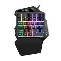 Teclado com fio usb 35 teclas backlit teclado do jogo da membrana de uma mão para o portátil