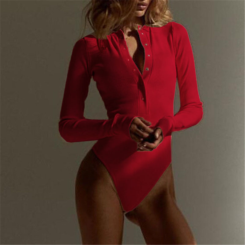 2019 Autumn Women Sexy Club Party Outfits Long Sleeve V Neck Knitted Bodysuit One-pieces Buttons Rompers Casual Bodysuit M0446