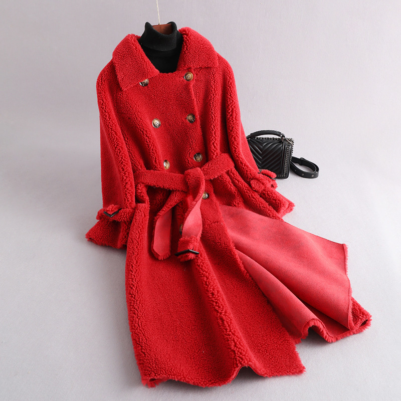 Natural Real Fur Coat Winter Jacket For Women Clothes 2020 Korean Thick Warm Long Women's Fur Coat Suede Lining LW1406