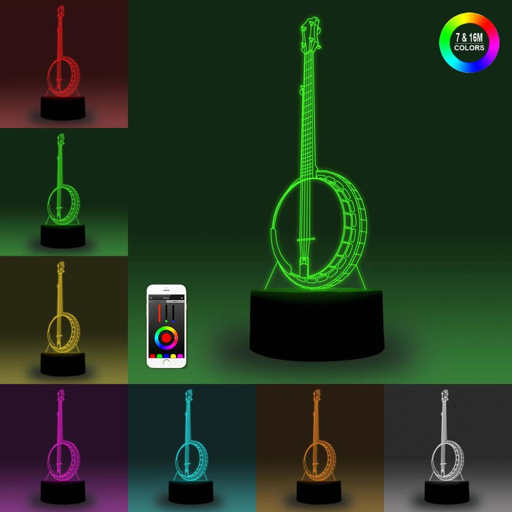 NiteApps 3D Banjo Night Light Desk Table Illusion Decoration Lamp Holiday Birthday Gift APP/Touch Control