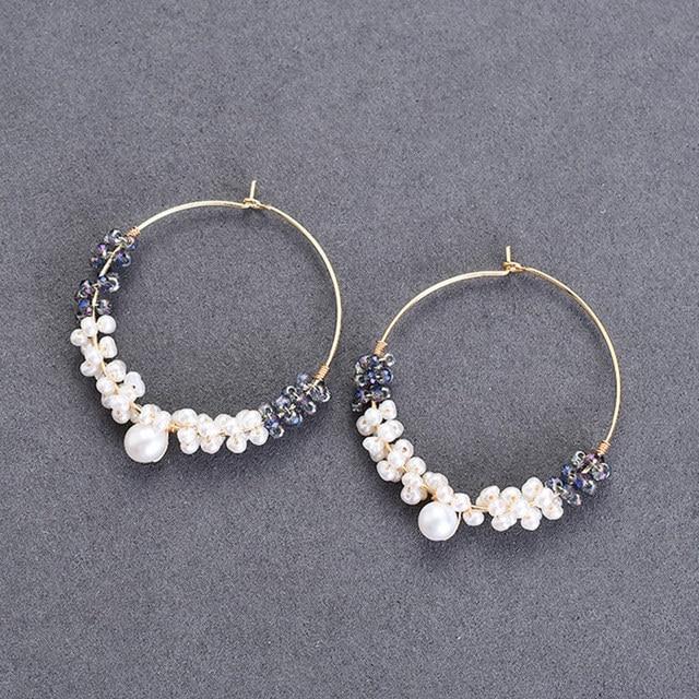 Hongye mode grand cercle naturel Multi perles Styles argent 925 oreille bijoux fête/anniversaire boucles doreilles goutte pour les femmes 2020