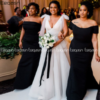 Eeqasn Elegant Black Mermaid Bridesmaid Dresses Off Shoulder African Wedding Party Dress Maid of Honor Gown 2020 Plus Size