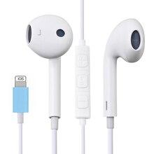 Наушники в ухо для iPhone 7 8 Plus X XR XS MAX 11 Pro Max стерео звук проводные наушники с микрофоном проводное управление (Bluetooth)