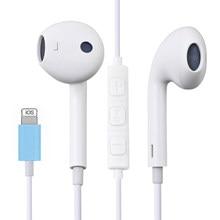 No fone de ouvido para iphone 7 8 plus x xr xs max 11 pro max som estéreo com fio fones de ouvido com microfone controle (bluetooth)
