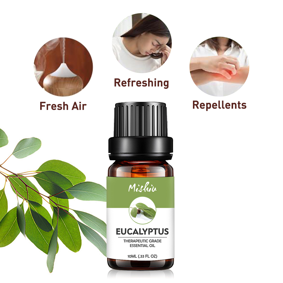 Mishiu Eucalyptus Essential Oil Jasmine Ylang Ylang Sandalwood Vanilla Myrrh  Frankincense Aroma Diffuser Massage Oil 10ML
