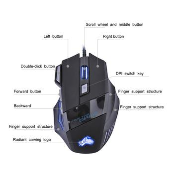 VODOOL USB Wired Gaming Mouse 7 Buttons 5500 DPI Adjustable LED Backlit Optical Computer Mouse Gamer Mice For PC Laptop Notebook 5