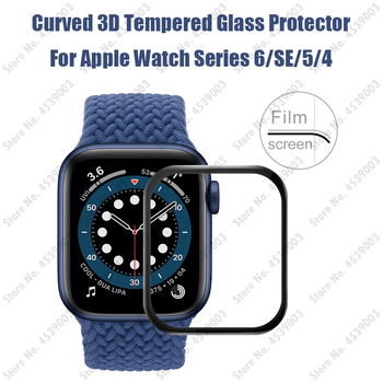 Latest 3D Glass Film for Apple Watch Series 6 SE 44mm 40mm Tempered Screen Protector for iWatch 5 4 3 2 1 Full Cover Curve Glass tempered glass 3d full coverage protector for apple watch 4 curved screen edge protective film for iwatch series 40mm 44mm