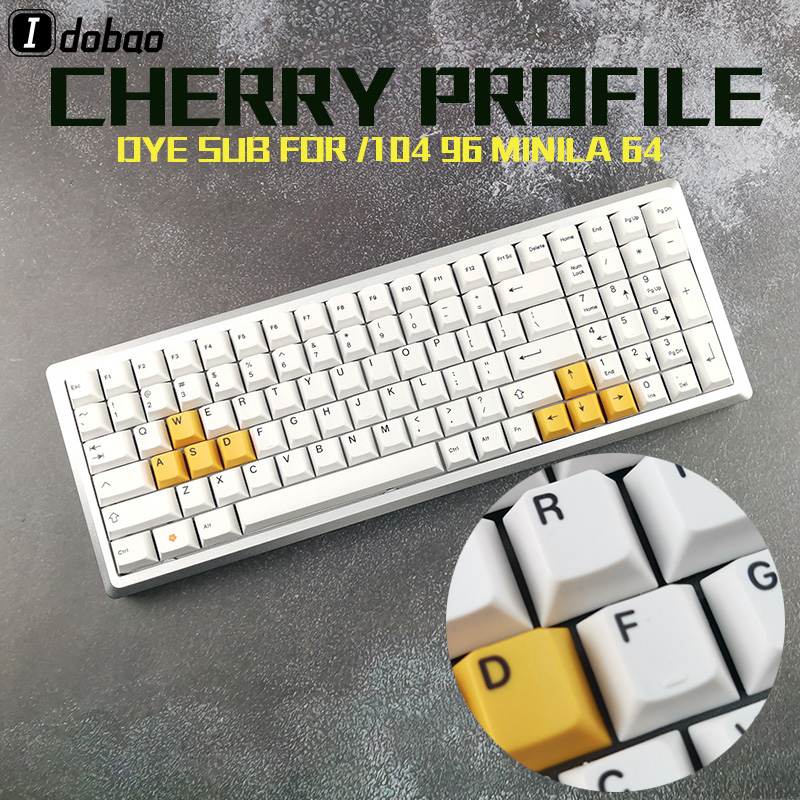 Cherry Profile White Yellow Color Keycaps Dye Sub Black Print Thick PBT For Mechanical Keyboard Gh60 Xd60 Xd84 Tada68 87 104