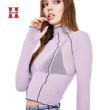 Mesh Perspective Clubwear Blouses Women Turtleneck Long Sleeve Tops Sexy Party Short Blouse Women Clothes Summer Blusas Mujer