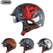 цена на Summer Men Half Face Retro Motorcycle Helmet City Scooter Helmets High Quality ABS Half Casco Moto Retro Motorcycles Motorbike