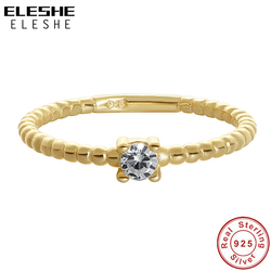 ELESHE-bague en perles de cristal délicat, bague en argent Sterling 925 plaqué or 14K, pour femmes, bijoux de mariage, nouvelle mode