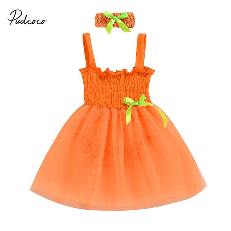 2020 Hot Hovelty Newborn Infant Baby Orange Clothes Girl Sleeveless Princess Romper Dress Headband Summer Outfit Set