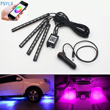 цена на  LED Car SUV Interior Footwell Neon Decorative Atmosphere Light Strips Smartphone controlled RGB LED interior footwell light