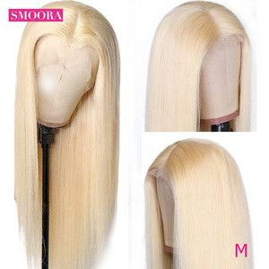 Image 2 - 613 Blonde Deep Middle Part Lace Front Wigs 13*1 Peruvian Remy Lace Frontal Wigs Human Hair Straight Peruque For Female