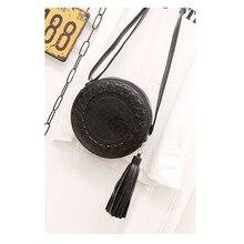 Round Women Tassel Bag Woven Crossbody Bags Womens Shoulder Bag Ladies Cute Knitting Circular Women Messenger Bags