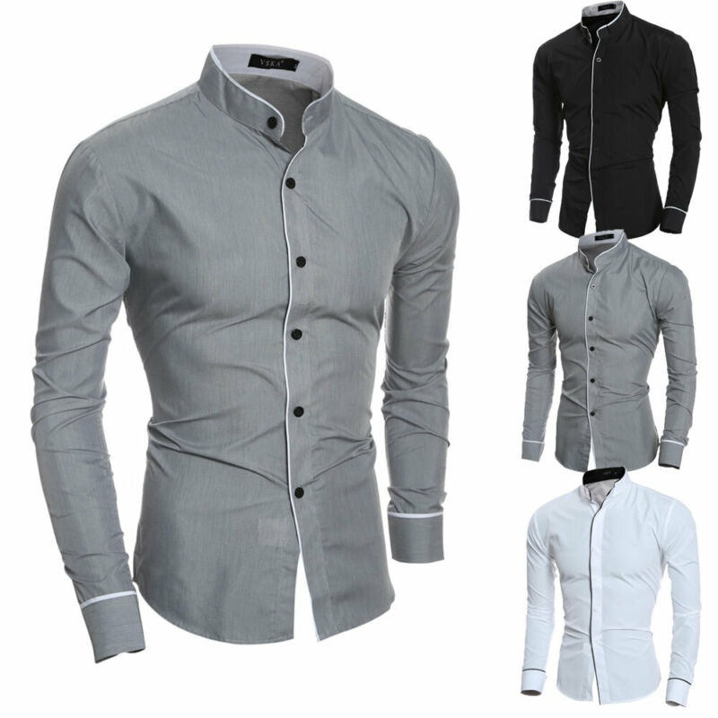 Meihuida Men Smart Casual Formal Shirt Blouses Long Sleeve Turn Down Collar Slim Pure Colors Solid Fit Business Shirts Tops