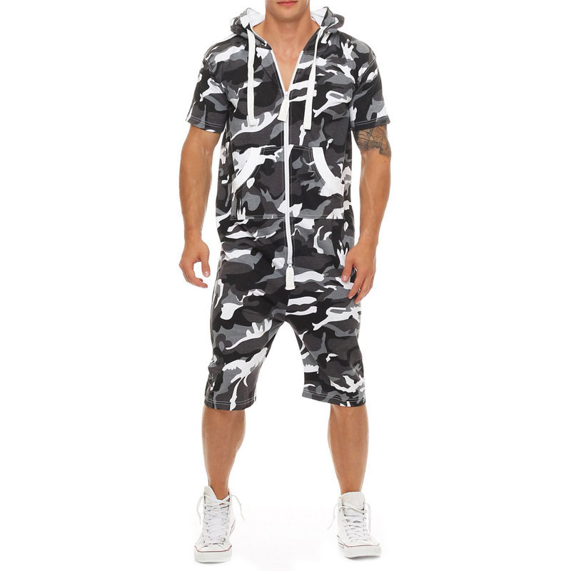 2019 New Men's Sets Jumpsuit Patchwork Camouflage Tracksuit Casual Zipper Short Sleeve Hooded With Pockets Short Overalls F815