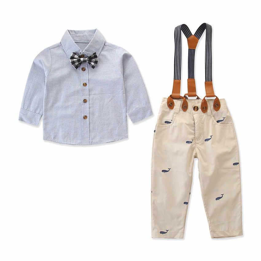 مجموعة ملابس الأطفال الخريف طفل الفتيان قميص أزرق التعادل القرش نمط الكاكي السراويل 2 مجموعات شهم دعوى الاطفال الملابس