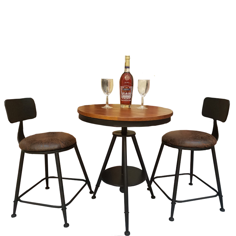 Balcony outdoor wrought iron table and chair combination cafe tea shop bar leisure small round table and chair three-piece small